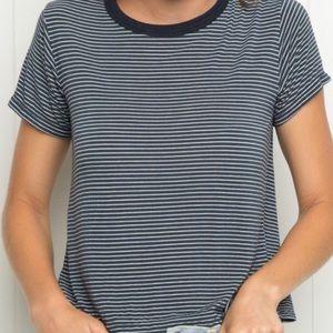 John Galt Brandy Melville Grey Striped Tshirt